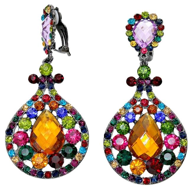 Multicolor Bridal Pageant Evening Prom Teardrop Accent Rhinestone Crystal Chandelier Dangle Clip On Earrings Multicolor Bridal Pageant Evening Prom Teardrop Accent Rhinestone Crystal Chandelier Dangle Clip On Earrings Image 1