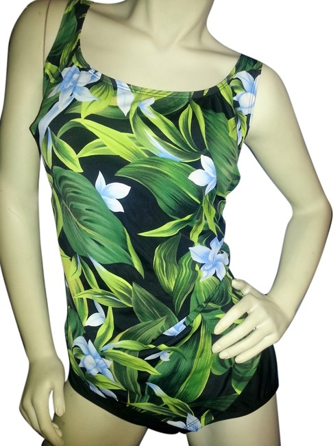 Preload https://img-static.tradesy.com/item/6256699/greens-blue-and-white-floral-on-black-sarong-front-swimsuit-one-piece-bathing-suit-size-22-plus-2x-0-0-650-650.jpg