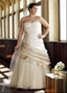 David S Bridal Champagne Satin 9v3179 Formal Wedding Dress Size 18 Xl Plus 0x