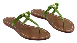 Tory Burch Leighanne Flat Patent Leather Saffiano Bow Green Sandals
