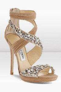 Jimmy Choo Nude Kani Crystal Embellished Formal Size US 8.5