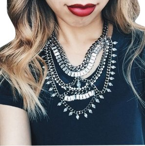 Other Dark Metal Chained Statement Necklace