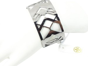 Tory Burch Tory Burch Chevron Fret Cuff Bracelet Silver NEW WITH TAGS