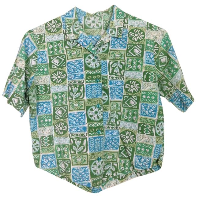 Preload https://img-static.tradesy.com/item/6258292/green-and-blue-vintage-tiki-blouse-size-6-s-0-0-650-650.jpg