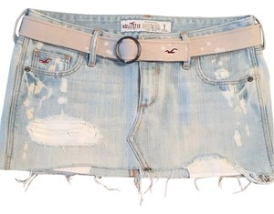 Hollister Mini Skirt Faded light color jean skirt