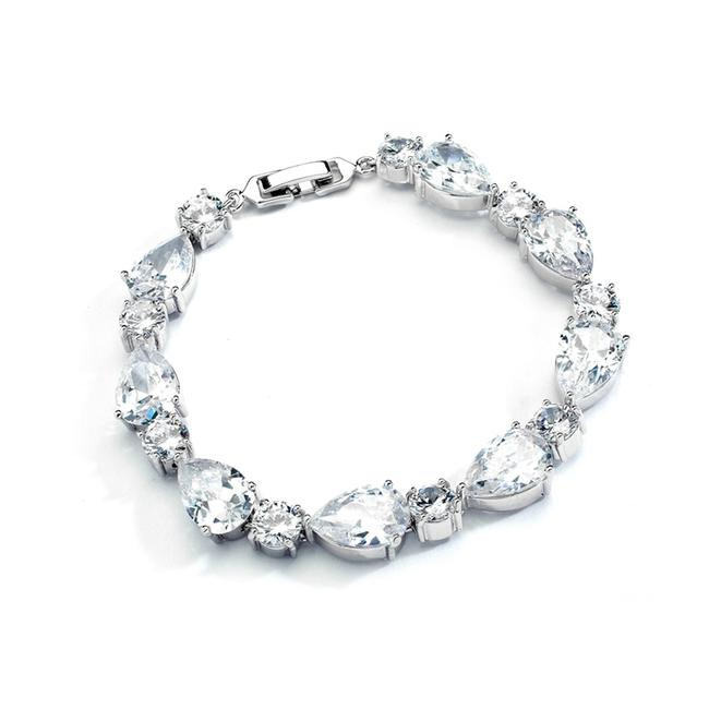 Silver/Rhodium Stunning Luxe Crystal Pears Rounds Bracelet Silver/Rhodium Stunning Luxe Crystal Pears Rounds Bracelet Image 1