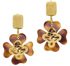 Chanel Chanel Vintage Tortoise Shell Dangle Earrings
