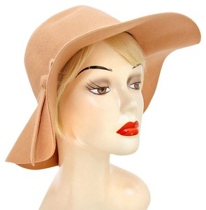 Beige Wool Felt Crushable Wide Brim Fedora Floppy Hat