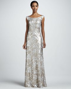 David Meister Blush/Silver Sequined Cap-sleeve Dress