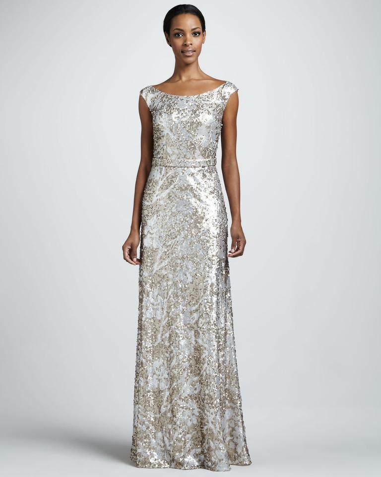 David Meister Blush/Silver Sequin Cap-sleeve Formal Bridesmaid/Mob ...