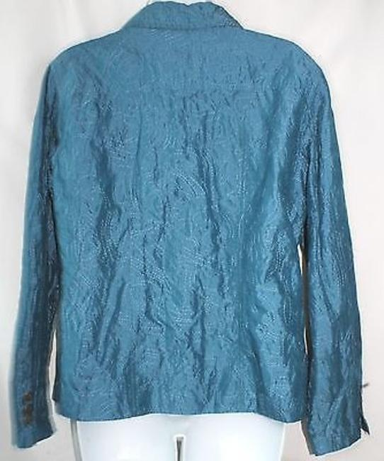 Chico's Embroidered Teal Jacket Blazer