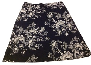 H&M Skirt Black with White Print