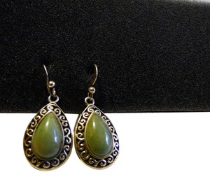 Mine Finds by Jay King Mine Finds by Jay King Scroll Design Green Gemstone Pear Shape Pierce Earrings