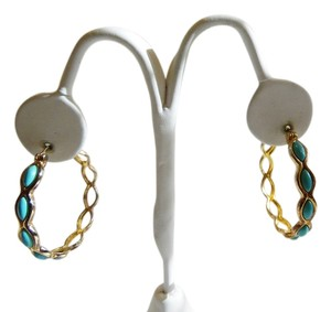 Technibond Technibond Faux Turquoise Pierce Hoop Earrings