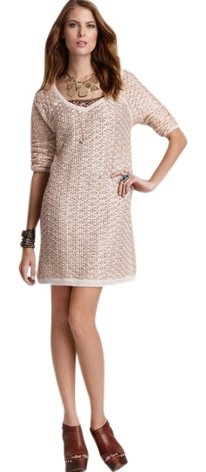 641796d19a0 Free People Taupe New Romantics Joan Of Arc Sweater Above Knee Short ...
