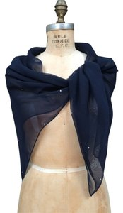 Other Navy Blue Chiffon Square Shawl Scarf with Rhinestones