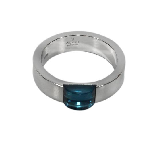 Gucci Gucci 18K White Band With Blue Topaz Center Ring Size 6.75