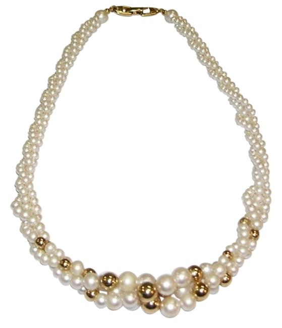 Napier White Faux Pearls with Goldtone Beads Necklace Napier White Faux Pearls with Goldtone Beads Necklace Image 1