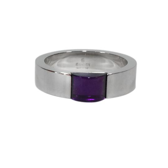 Gucci Gucci 18K White Band With Amethyst Center Ring Size 6.75