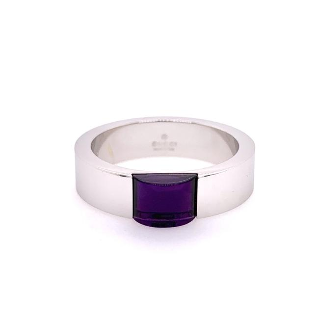 Gucci Purple 18k White Band with Amethyst Center Size 6.75 Ring Gucci Purple 18k White Band with Amethyst Center Size 6.75 Ring Image 1