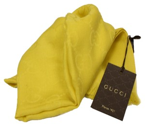 Gucci Gucci Silk Wool Blend Yellow Monogram GG Logo Oversized Scarf