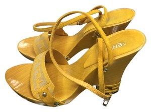 Fendi yellow Wedges