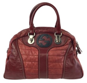 Gucci Snow Glam Patent Satchel in Red