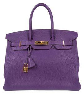 Hermès Leather Birkin Gold Hardware Classic Tote in Violet