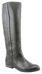 Coach Leather Zipper Riding Gray Boots