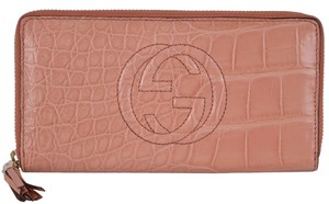 Gucci New Gucci Women's $2,239 308004 Peach Soho Alligator Zip Around Clutch Wallet