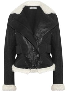 Faith Connexion Fur Lambskin Pebbled Wool Motorcycle Jacket