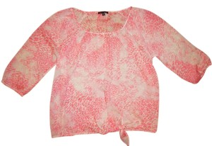 Express Peasant Boho Bohemian Knotted Top Ivory, Pink