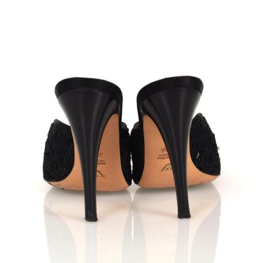 Emporio Armani Peep Toe Slip On Heels Black Sandals