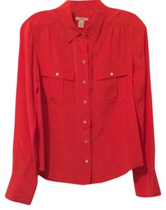 J.Crew Top Red-orange Blythe Blouse