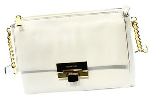 Michael Kors Leather Satchel in Optic White