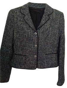 Elie Tahari ELIE TAHARI WOVEN BLACK AND BLUE/GREEN TWEED BROOCH SUIT DRESS JACKET