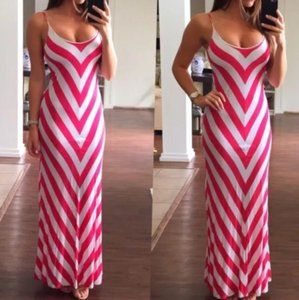 pink and white Maxi Dress by bebe
