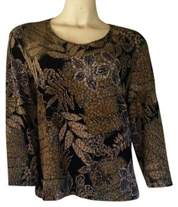 Chico's Floral Travelers Slinky Travel Knit Metallic Gold T Shirt Olive