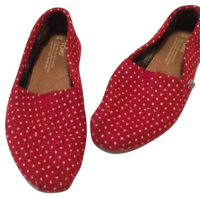 Item - Red with White Polka Dots Flats Size US 8 Regular (M, B)