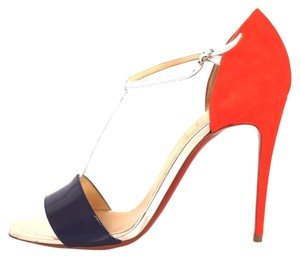 Christian Louboutin Patent Leather Suede Heels Navy & Orange Sandals