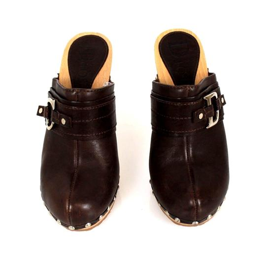 Dior Christian Leather Round Toe Boots Wooden Heel Brown Mules