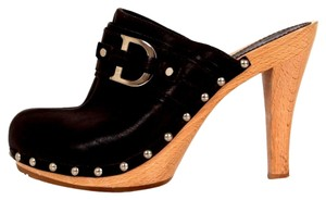 Dior Christian Leather Round Toe Boots Wooden Heel Brown Sandals