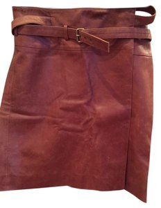 Céline Leather Skirt Brown