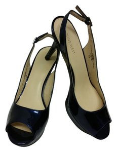 Nine West Navy Patent Pumps