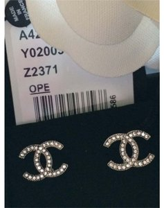Chanel Chanel Classic CC Silver Crystal Earrings