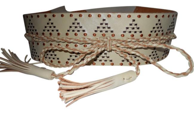 Beige Embroidered Leather with Elastic Belt Beige Embroidered Leather with Elastic Belt Image 1