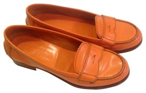Prada Orange Leather Flats