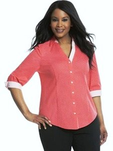 Lane Bryant Button Down Shirt Coral