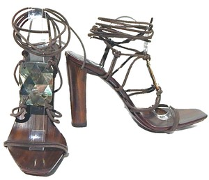 Gucci Leather Strappy Tom Ford Mother Of Pearl Suede Brown Sandals