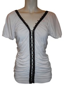 Soul Revival Studded Shirred Studded Top white & black